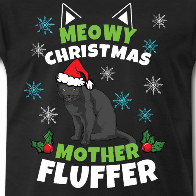 Kids Meowy Christmas T-shirt Cat Merry Animal Boys Girls Funny Present Gift Top