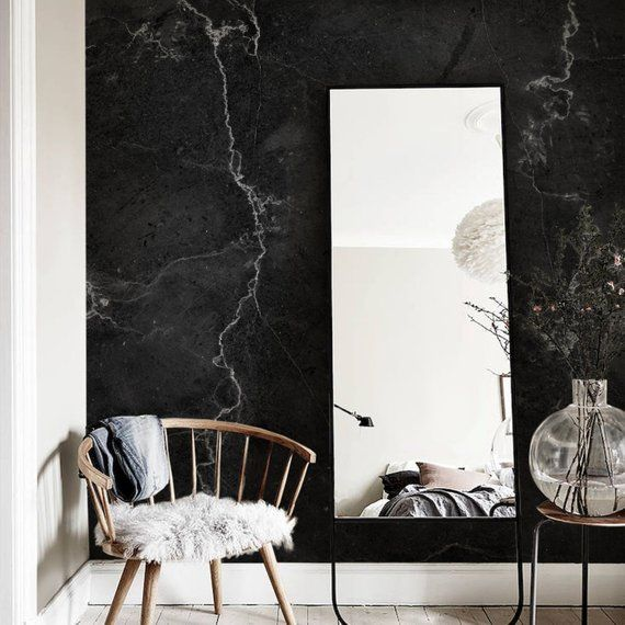 Black Marble Wall Mural Peel And Stick Wall Paper Black And Etsy Marble Wall Mural Marble Wall Marble Wallpaper Bedroom