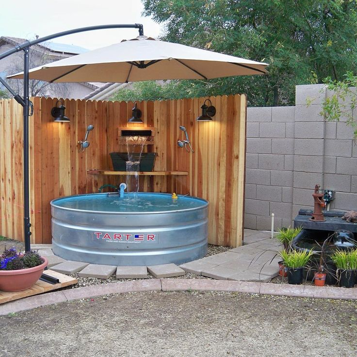 Pool is finished! It has a saltwater filter, waterfall and tons of shade, plus light for nighttime #tractorsupply Click to read the how-to