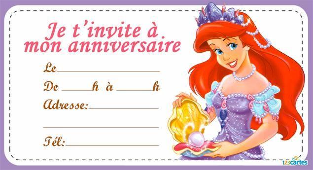 Invitation anniversaire ariel la petite sirène
