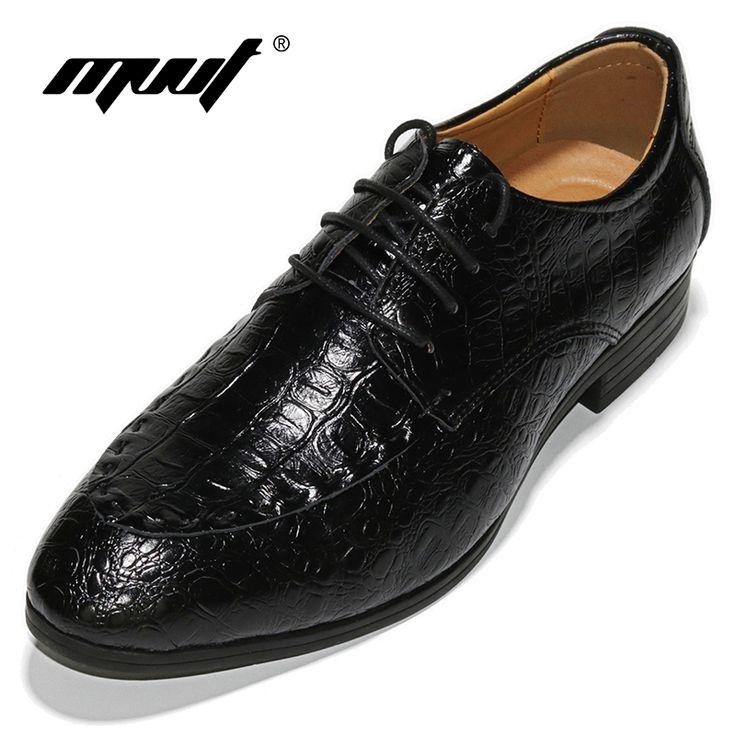 Hot Sale Genuine Leather Men Oxfords Shoes Men Dress Shoes Business Men's  Footwear Wedding Shoes For Men Crocodile Pattern