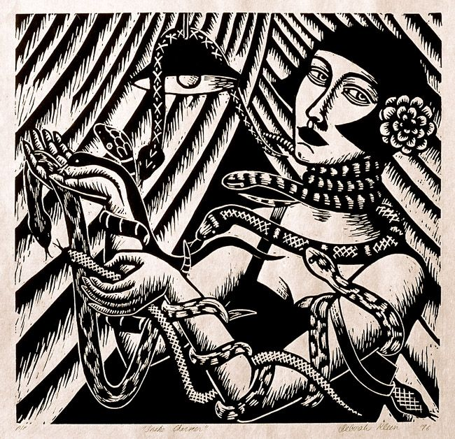 """Snake Charmer"", 1996, linocut by Deborah Klein. http://www.deborahklein.net/ Tags: Linocut, Cut, Print, Linoleum, Lino, Carving, Block, Woodcut, Helen Elstone, Australian, Female, Woman, Face, Reptile, Snake, Light, Curtains, Film Noir."