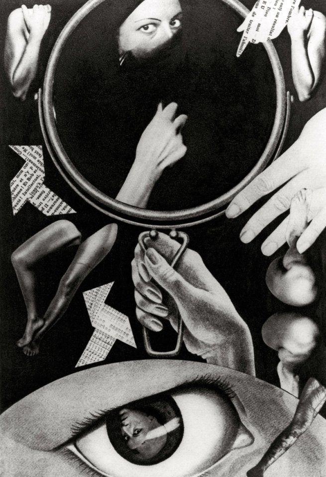 Claude Cahun. 'Aveux non avenus, planche III' 1929 - 1930 Gelatin silver print photomontage 15 x 10 cm Private collection .