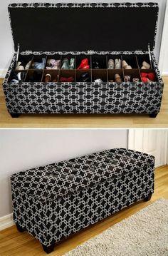 Ideias criativas para organizar sapatos #puff #sapateira                                                                                                                                                                                 Mais