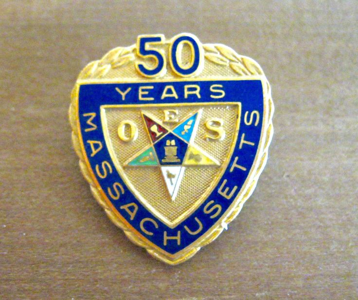 Vintage Order of the Eastern Star lapel pin EOS 50 Year Massachusetts station Emblem brooch rainbow enamel pin masonic jewelry heroines by ToucheVintage on Etsy