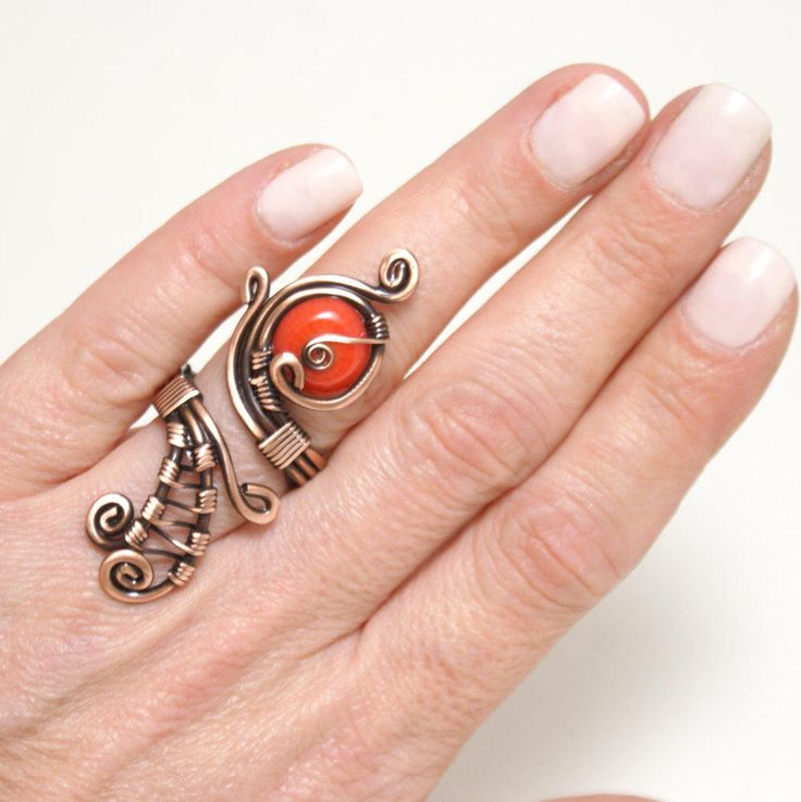 A personal favorite from my Etsy shop https://www.etsy.com/listing/170373958/copper-wire-with-coral-ring-wire-wrapped