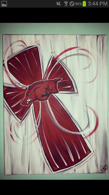 Razorback Cross Painting by Courtney :)