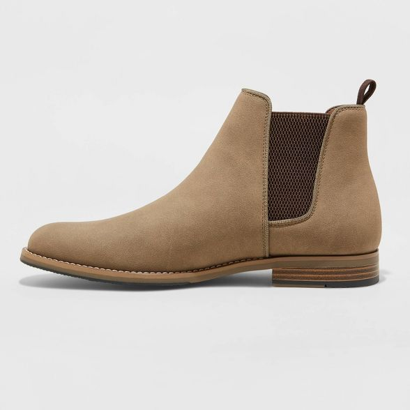 Men/'s Suede Ankle Boots Shoes Casual Slip On Round Toe Chelsea Boots Flat Shoes