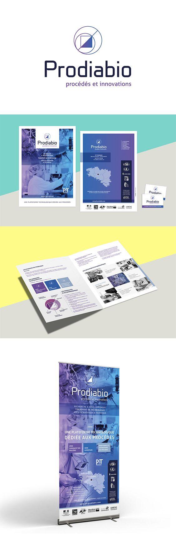 Refonte de l'identité visuelle de PRODIABIO. Création du logo, plaquette commerciale, cartes de visite, roll up...