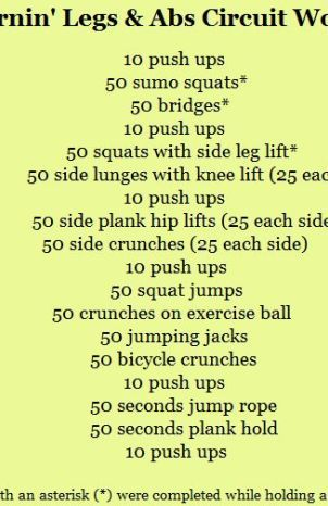 Burnin' Legs and Abs Circuit Workout