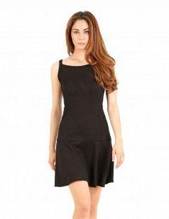 Black drop waist strappy mini dress