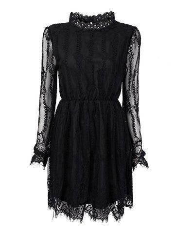 Elegant Transparent Lace Pleated Elastic Waist Women Mini Dress Online - NewChic Mobile.