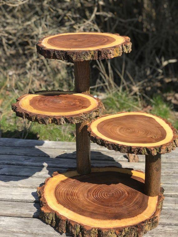 Log Dark Elm Wood Rustikale Kuchen 50 Cupcake Stand Hochzeitsfeier Dusche aus Holz 4 Tier, Holzfäller-Party, wilde Dinge sind, Boho, Live Edge Runde