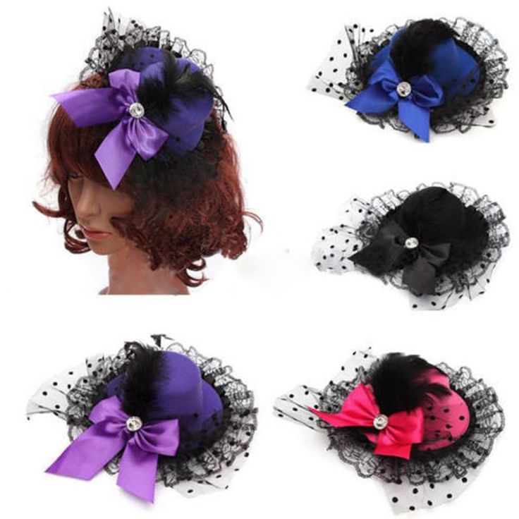 Fashion Ribbon Bow Flower Party Cap Hairpins Festival Hat Hair Clip Hair Accessories Baby Hair Clip Christmas Costume Girl Gifts
