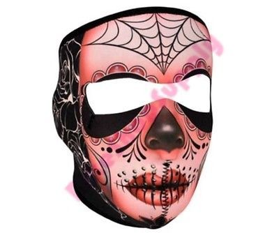 Fleece Lined Warm Motorcycle Biker Ski Mobile Neoprene Face Mask Sugar Skull | eBay