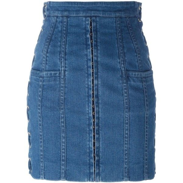 Balmain stitching detail denim skirt ($2,095) ❤ liked on Polyvore featuring skirts, blue, denim skirt, short skirts, blue skirt, short blue skirt and blue mini skirt