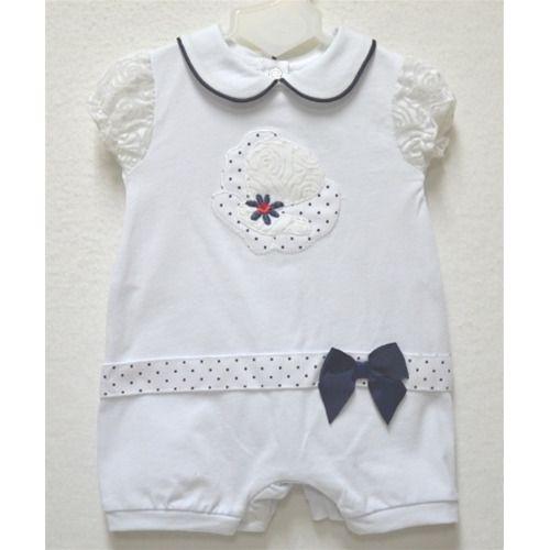 Pagliaccetto Le Chicche in gersi neonata 6 mesi bianco/blu