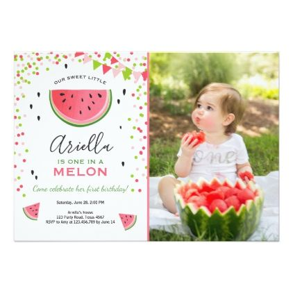 One in a melon Birthday Invitation Watermelon - invitations custom unique diy personalize occasions