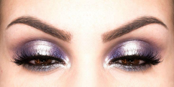 Вечерний макияж для карих глаз в фиолетовой гамме