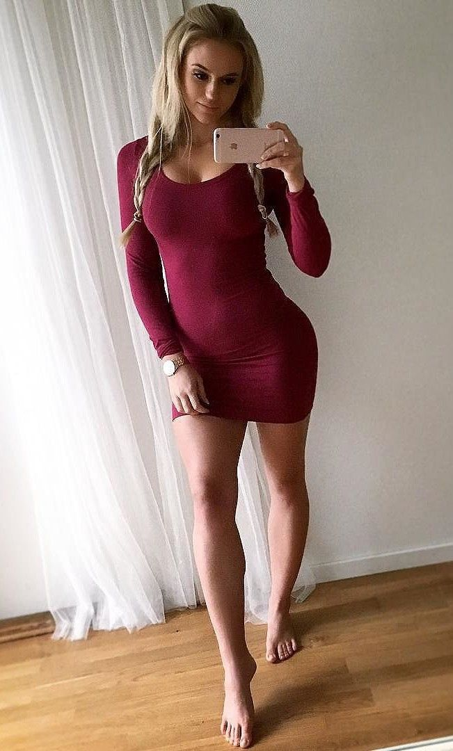 """hotminiskirts: """"Anna Nystrom in a skin tight purple mini dress. Check out our other blogs and pages: http://www.oohlala.club http://racychicks.tumblr.com http://fitandhot.tumblr.com """""""