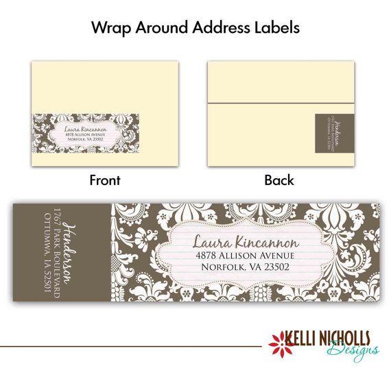 damask wedding wrap around address label template choose. Black Bedroom Furniture Sets. Home Design Ideas