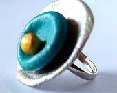 December 14 - Silver, Blue and Gold Statement Ring from Polymer Clay