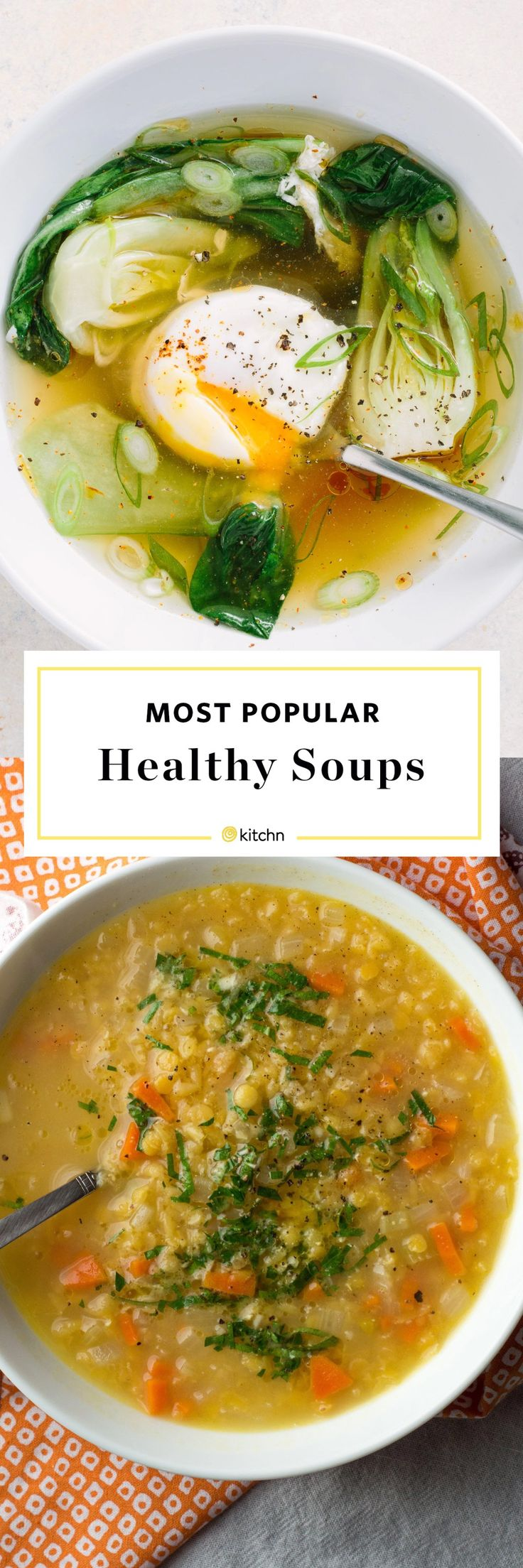 10 Of Our Favorite Light, Healthy, and Satisfying Soups. Looking for Recipes and ideas for hearty weeknight meals and dinners - or light and easy lunches? These simple soups range from vegetarian with plant packed proteins like beans or lentils, to chicken zoodle. There's even one with ground beef in sausage and some you can cook in crockpots or slow cookers.  Low in calories and high in flavor!