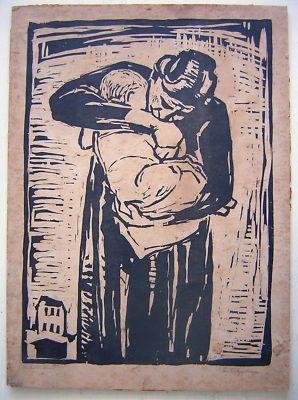 Karl Friedrich Lippmann: Woodcut Mother & Child