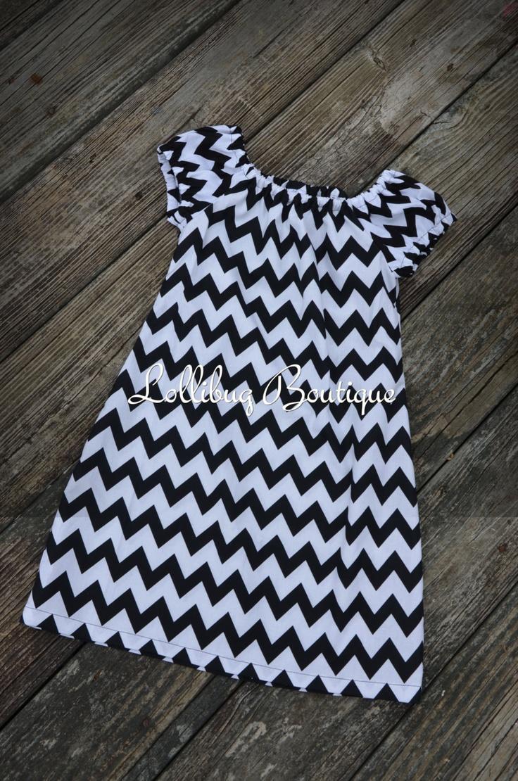 Short Sleeve Black and White Chevron Peasant Dress, Toddler and Girls. $18.00, via Etsy.