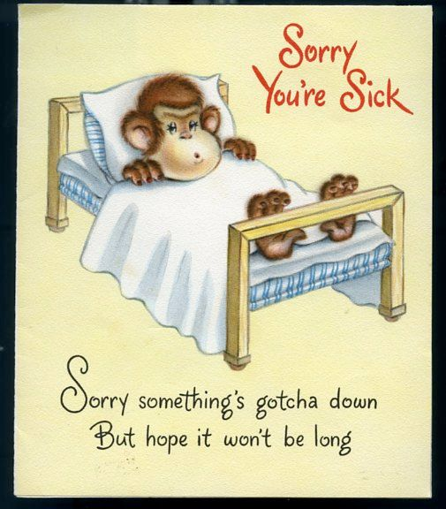 Wonderful Vintage Get Well Card with Monkey Swinging by lollybine, $3.99