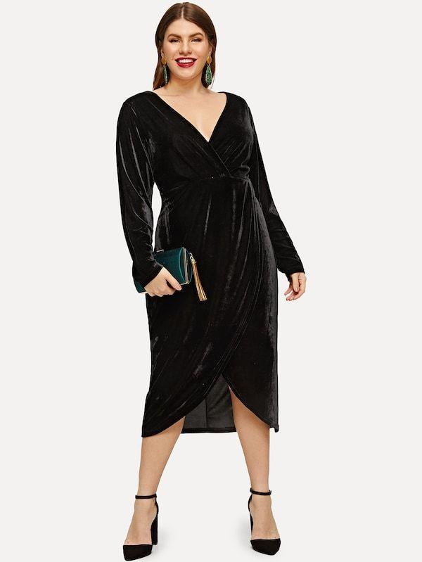 b7aeda6bdbb Plus Plunge Neck Wrap Velvet Dress -SheIn(Sheinside)