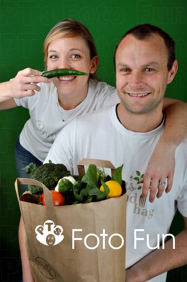 Emma and Harland playing with the food bags they deliver, from Emma´s food bag- Commercial shot