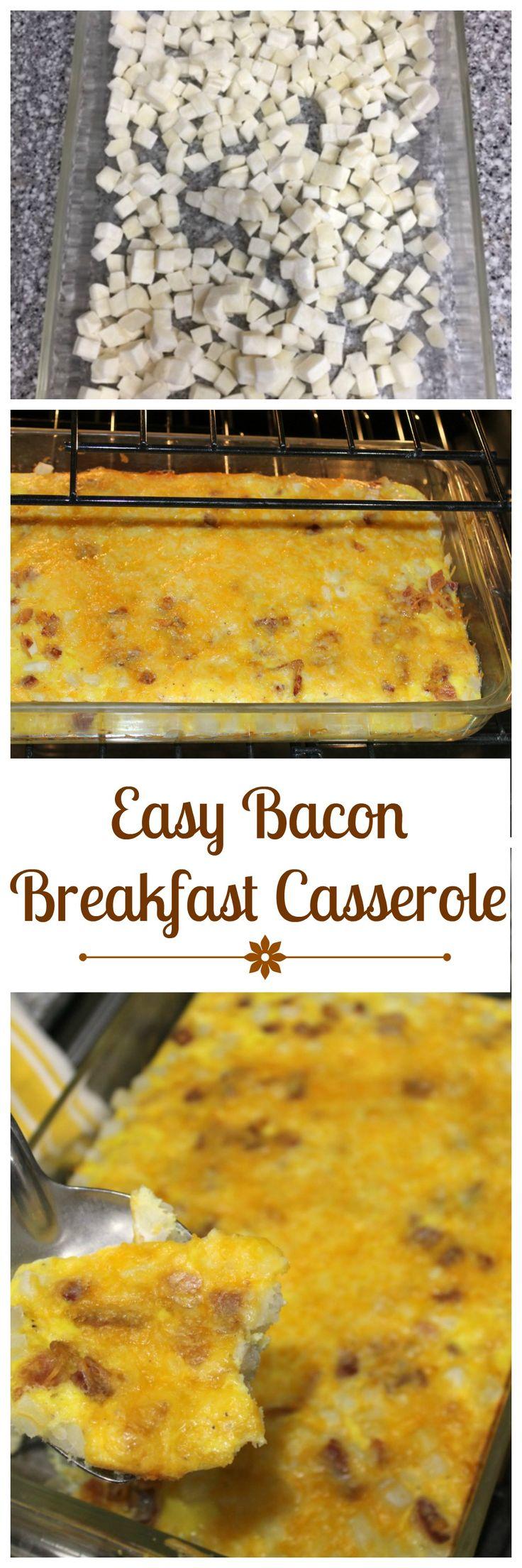Easy Bacon Breakfast Casserole - perfect for brunch or as a make-ahead breakfast!