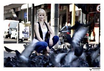 Doves flying infront of model