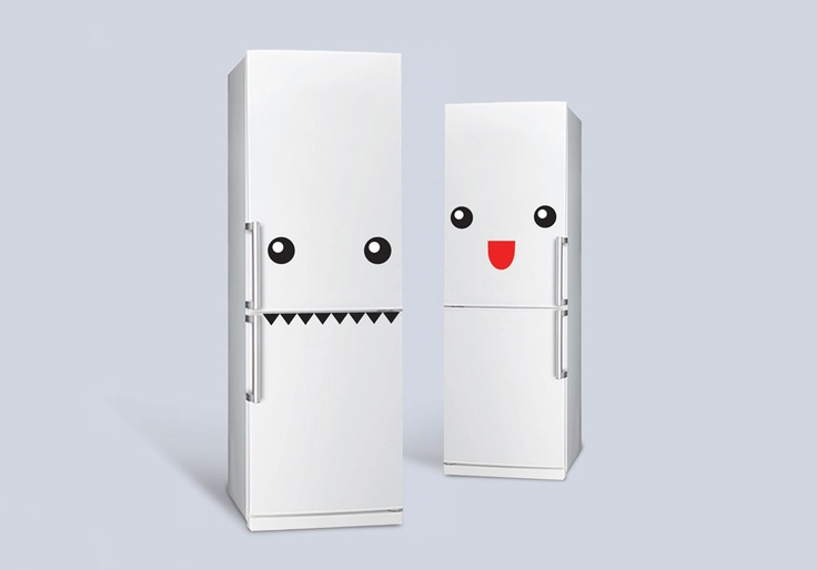 Fridge Monster by doiydesign: Turn your fridge into a happy monster with removable stickers. Man, I wish so badly that my fridge/freezer was set up for this :( Dishwasher monster, maybe?: Fridge Decals, Kawaii Faces, Kawaii Stickers, Ideas Para, Monsters Stickers, Stickers Monstr, Kawaii Monsters, Fridge Monsters, Monsters Fridge