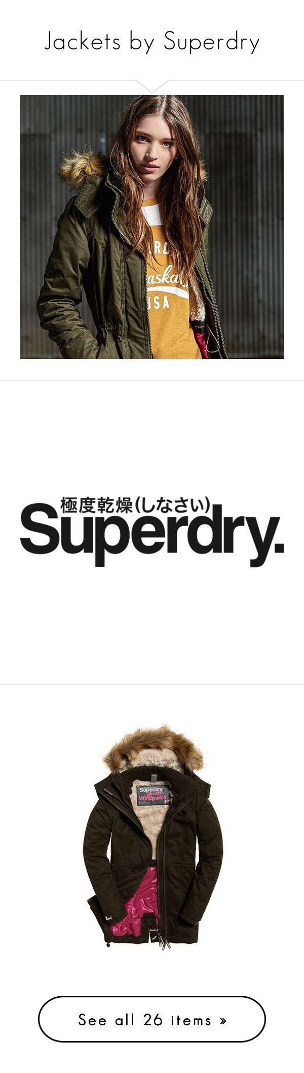 """""""Jackets by Superdry"""" by sylandrya ❤ liked on Polyvore featuring outerwear, jackets, microfiber jacket, brown jacket, superdry, tall jackets, superdry jacket, army jacket, fuji and coats"""