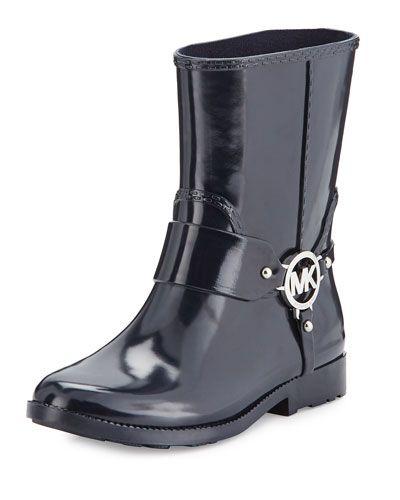 X3BEW MICHAEL Michael Kors Fulton Harness Short Rain Boot, Admiral