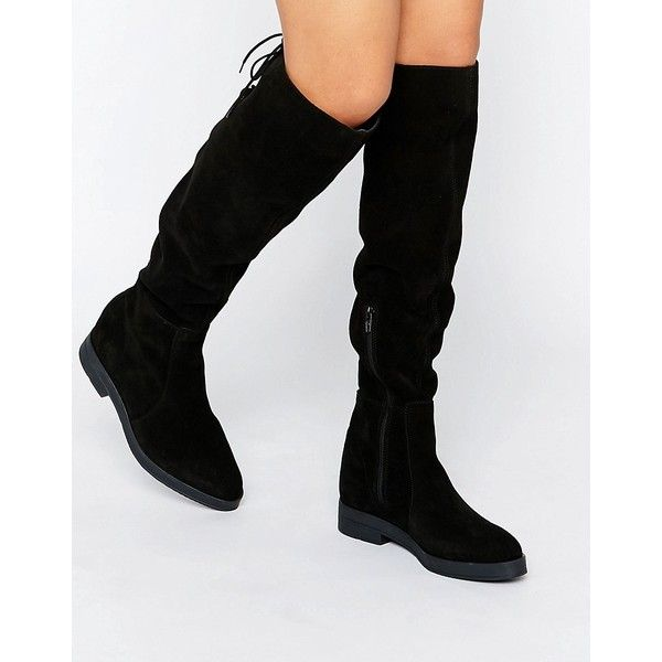 Flat over the knee suede boots