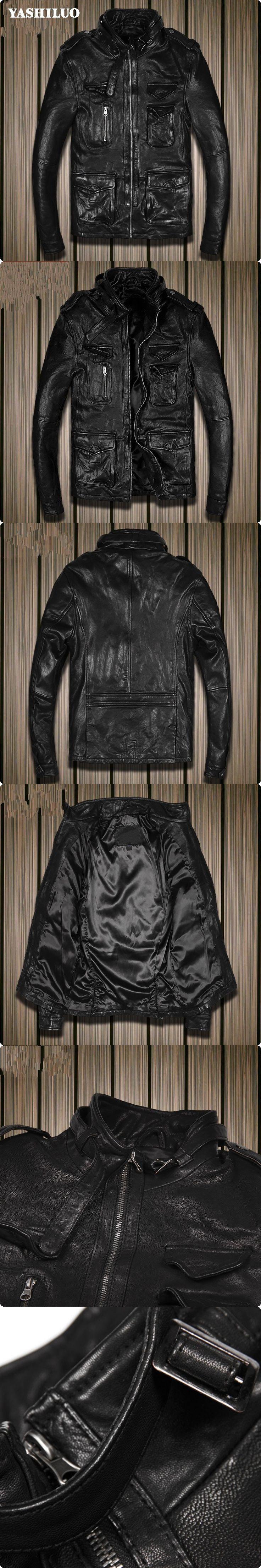 2017 Korean Style Mens Sheepskin Genuine Leather Short Jackets Biker Slim Fit Male Coat Jaqueta De Couro Masculina Blouson Moto