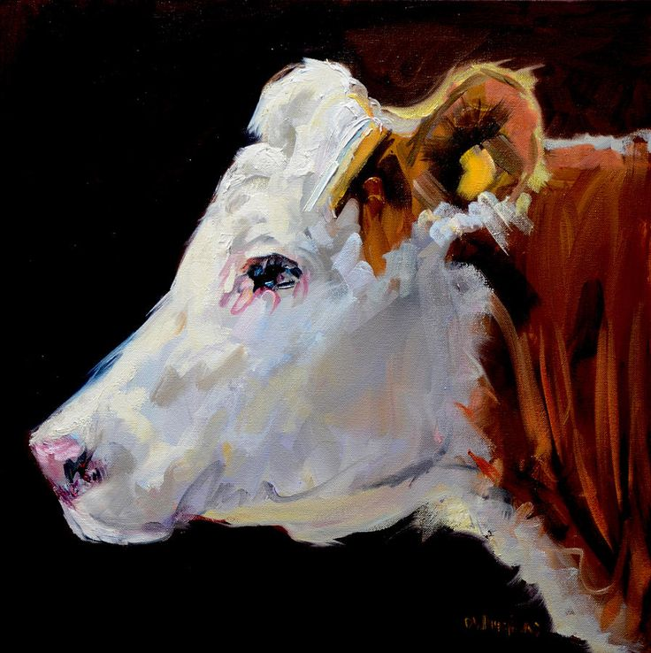 White On Brown Cow Painting  - White On Brown Cow Fine Art Print
