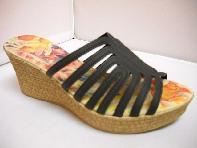1 (A) Alcaide Dani - W - Alcaide from Portugal.  Woven Wedge slide with 7cm heel height.  Available in Black and White.   NZ $169