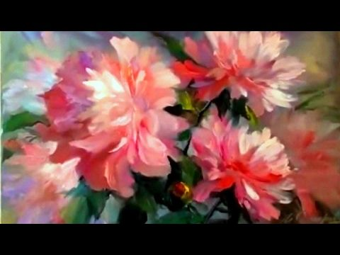 Peonies. Step by step easy painting with a palette knife for beginners Flowers oil painting tutorial - YouTube