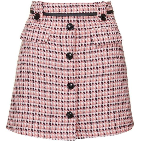 TOPSHOP Button Front Pelmet Skirt found on Polyvore featuring skirts, mini skirts, topshop, pink, pocket skirt, button front skirt, short mini skirts and belted mini skirt