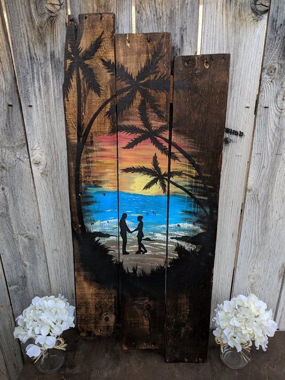 Wood Couples Sunset Sign Rustic Beach Decor Wood Planks