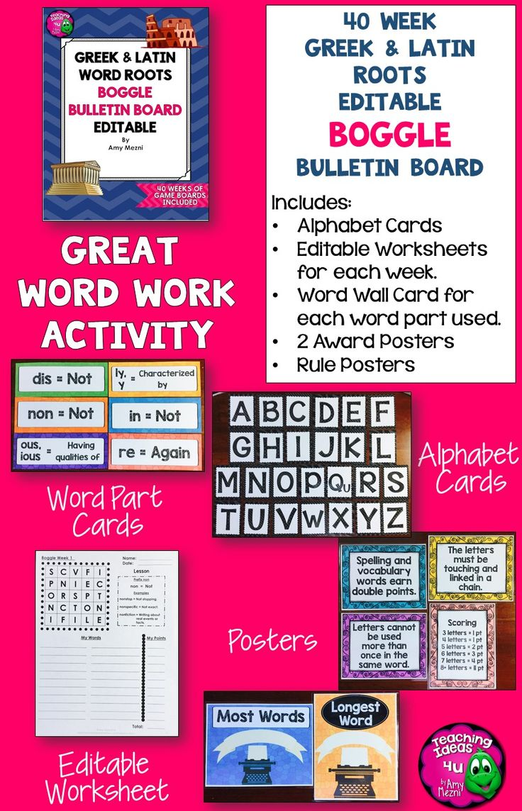 worksheet Greek And Latin Root Words Worksheet 1000 ideaa boggle bulletin board greek latin roots editable 40 weeks of boards make word