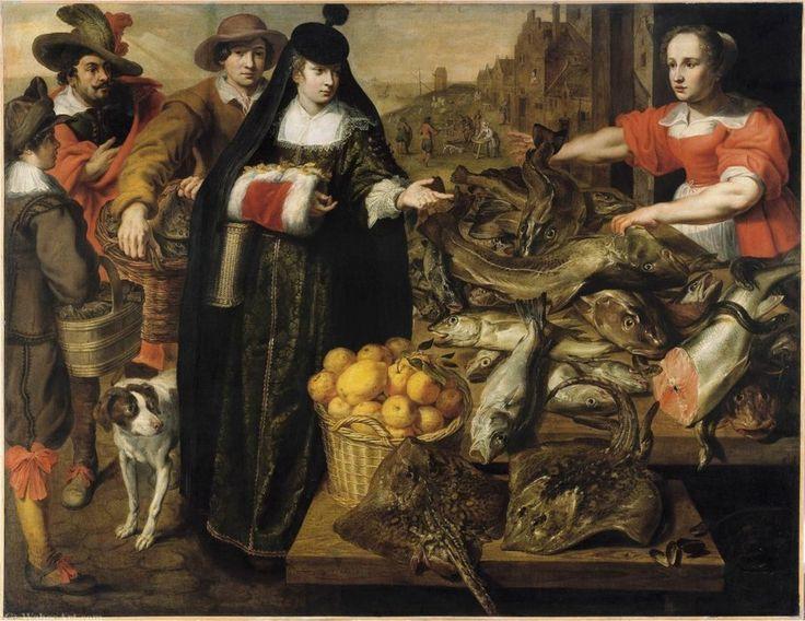 'Une dame au marché aux poissons à Anvers' de Adriaen Van Utrecht (1599-1652, Belgium)
