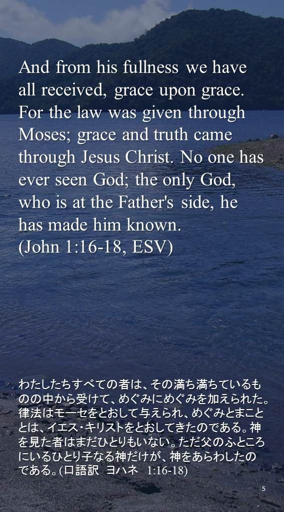 And from his fullness we have all received, grace upon grace. For the law was given through Moses; grace and truth came through Jesus Christ. No one has ever seen God; the only God, who is at the Father's side, he has made him known.(John 1:16-18, ESV)わたしたちすべての者は、その満ち満ちているものの中から受けて、めぐみにめぐみを加えられた。律法はモーセをとおして与えられ、めぐみとまこととは、イエス・キリストをとおしてきたのである。神を見た者はまだひとりもいない。ただ父のふところにいるひとり子なる神だけが、神をあらわしたのである。(口語訳 ヨハネ 1:16-18)