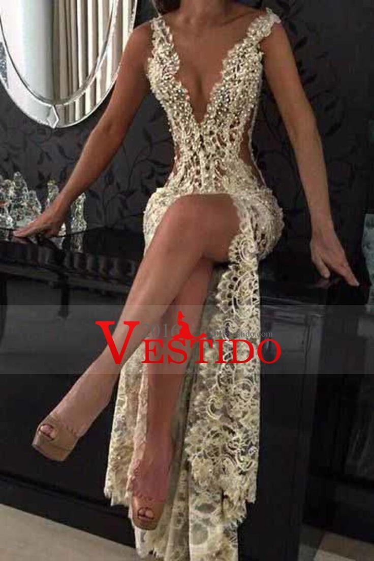 2017 Vestidos de encaje de cuello en V con rebordear y tren de barrido de sirena de raja US$ 199.99 VEPFBG44HB - 2016Vestido.com