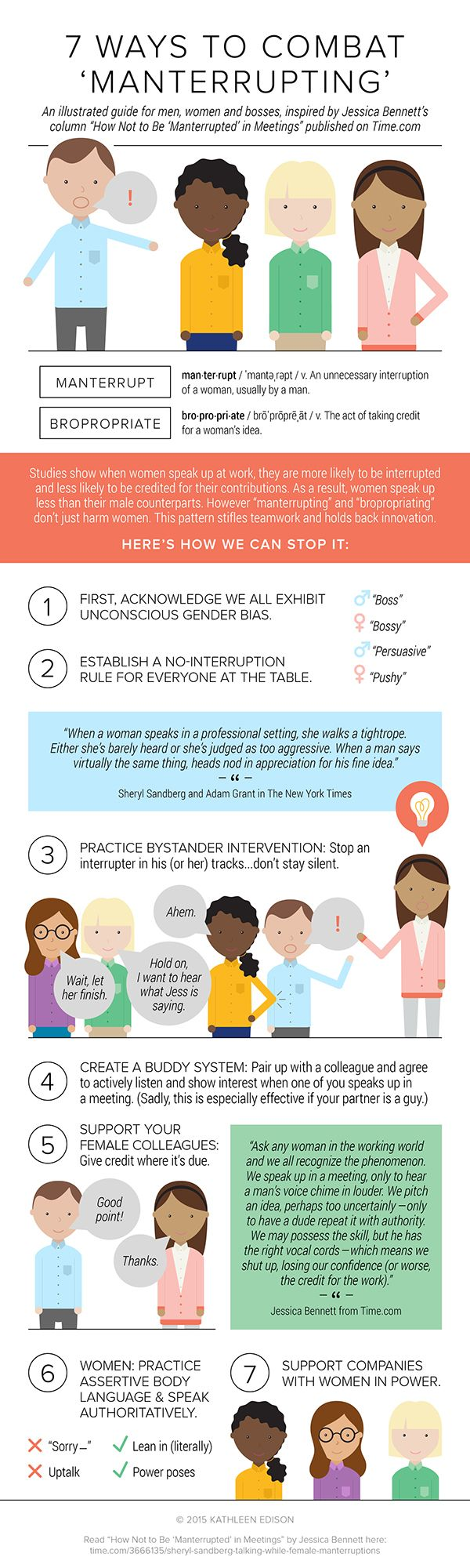 What Are 7 Ways To Stop Manterruption And Bropriation? #infographic