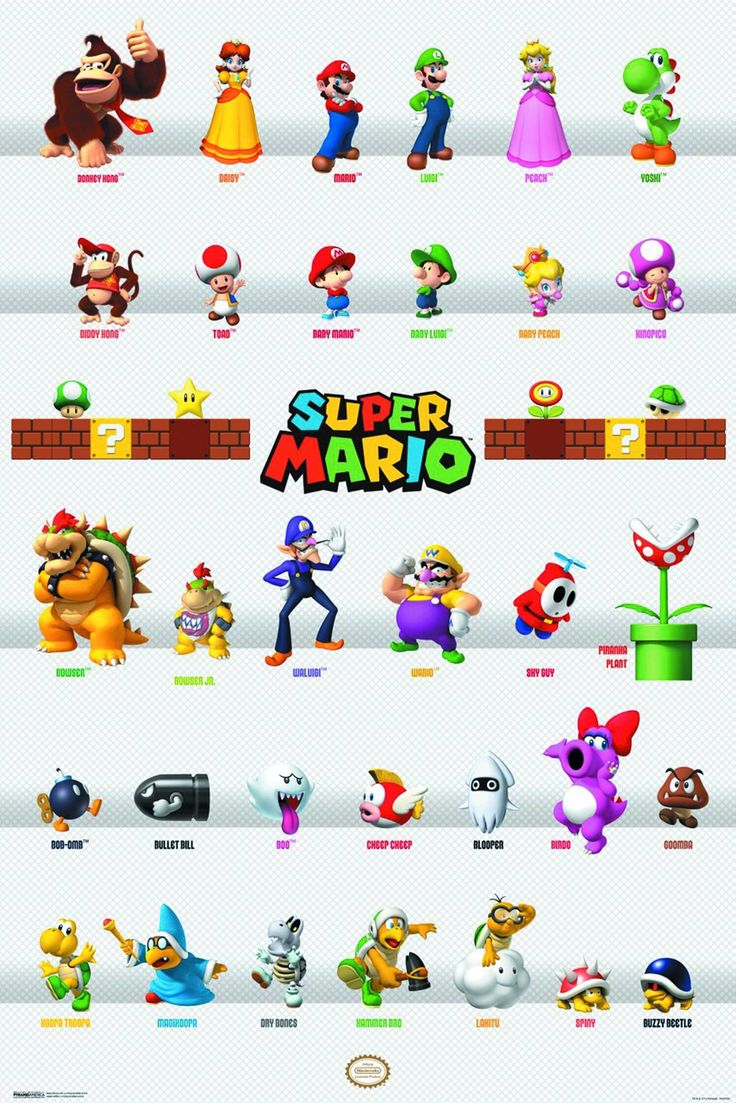 Super Mario Bros Characters poster